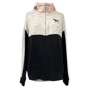 Victoria's Secret PINK Three Quarter Zip Pullover Sweatshirt Black White